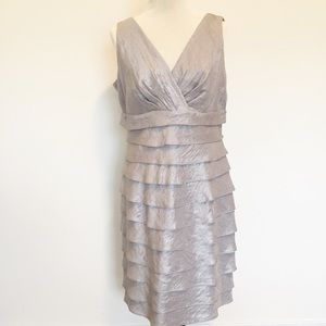 MAGGY L SILVER SLEEVELESS TIERED DRESS SIZE 12